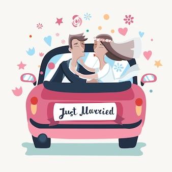 Ilustracja przedstawiająca kreskówkową parę ślubną prowadzącą różowym samochodem w podróż poślubną