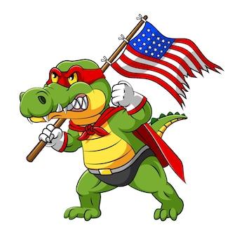 Ilustracja przedstawiająca krokodyla amerykańskiego wojownika z czerwonym kostiumem superbohatera