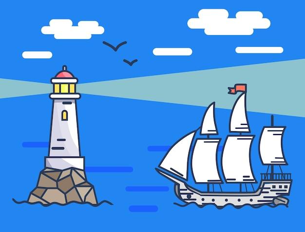 Ilustracja przedstawiająca latarnię morską i statek na morzu