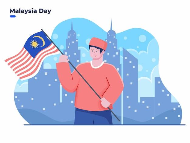 Ilustracja przedstawiająca ludzi świętujących dzień malezji lub dzień federacji malezji 16 września