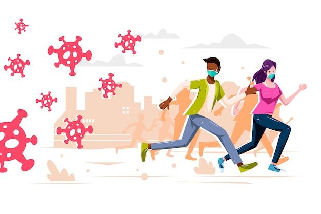 Ilustracja przedstawiająca ludzi uciekających przed cząstkami koronawirusa