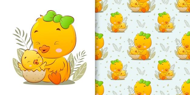 Ilustracja przedstawiająca małe pęknięcie kurczaka z jaj z dużą kurą obok niej