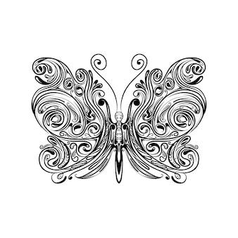 Ilustracja przedstawiająca małego motyla ze skrzydłami zentangle dla doddle'ów