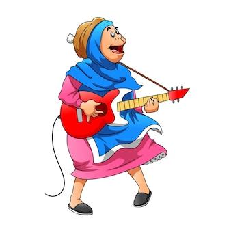 Ilustracja przedstawiająca matkę używającą niebieskiej zasłony i trzymającą gitarę elektroniczną