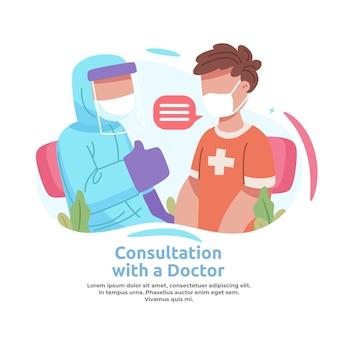 Ilustracja przedstawiająca mężczyznę konsultującego się z lekarzem w sprawie szczepionek