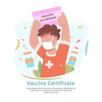 Ilustracja przedstawiająca mężczyznę otrzymującego certyfikat szczepionki