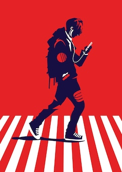 Ilustracja przedstawiająca mężczyznę przechodzącego przez krzyż zebry