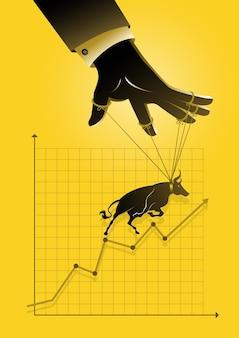 Ilustracja przedstawiająca mistrza marionetek kontrolującego zwyżkowy wykres graficzny giełdy