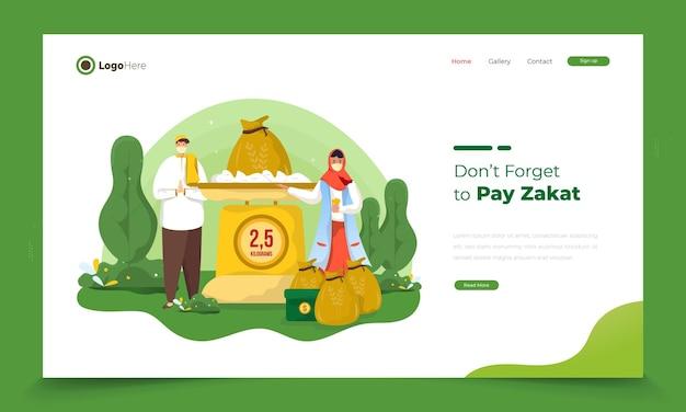 Ilustracja przedstawiająca muzułmanina płacącego zakat przed eid mubarak