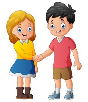 Ilustracja przedstawiająca nastolatków ściskających dłonie po przedstawieniu