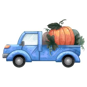 Ilustracja przedstawiająca niebieską ciężarówkę z dyniami z tyłu na jesienne targi żniw