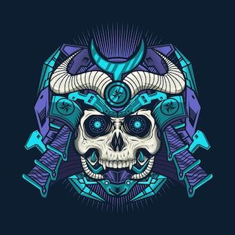 Ilustracja przedstawiająca niebieski cyborg czaszki samuraja z hełmem, szczegółowy projekt wektorowy