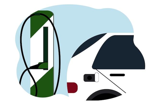 Ilustracja przedstawiająca nowoczesną stację ładowania pojazdów elektrycznych i pobliskiego samochodu