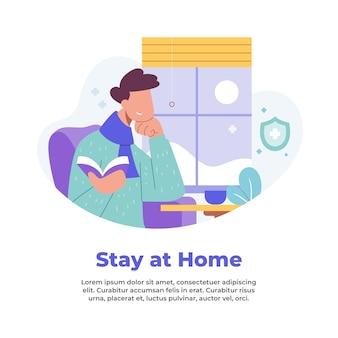 Ilustracja przedstawiająca odizolowanie się od domu w celu ochrony przed wirusami