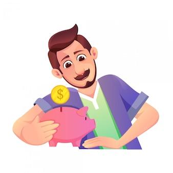 Ilustracja przedstawiająca ojca z wąsami oszczędzającego pieniądze na przyszłość i skarbonkę