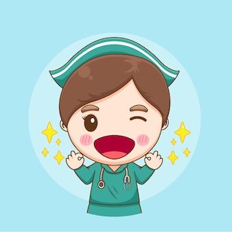 Ilustracja przedstawiająca okey uroczą pielęgniarkę