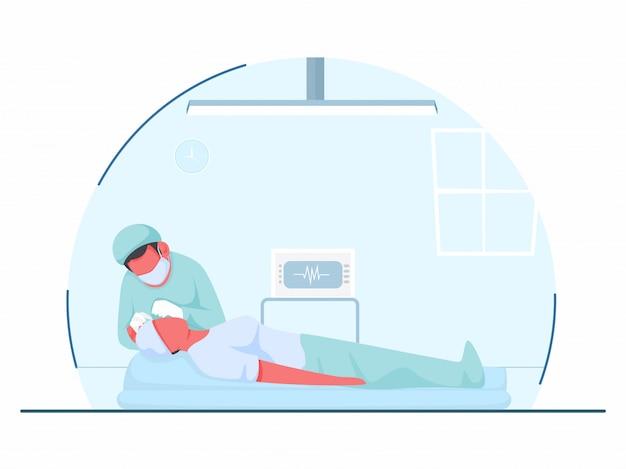 Ilustracja przedstawiająca operację oczu lekarza lub zakładanie soczewki w oczy pacjenta w sali szpitalnej.