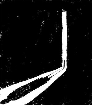 Ilustracja przedstawiająca osobę otwierającą drzwi do ciemnego pokoju. depresja i stan samotności, wektor.