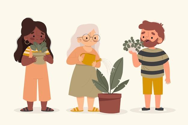 Ilustracja przedstawiająca osoby opiekujące się roślinami