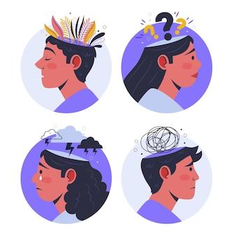 Ilustracja przedstawiająca osoby z problemami zdrowia psychicznego