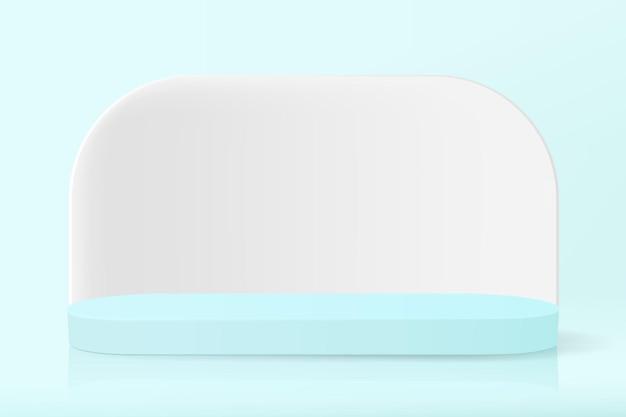 Ilustracja przedstawiająca owalne puste podium z białą ścianą do prezentacji produktu do celów reklamowych