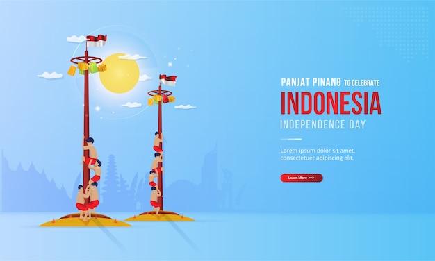 Ilustracja przedstawiająca panjat pinang lub wspinaczkę na słup z okazji dnia niepodległości indonezji