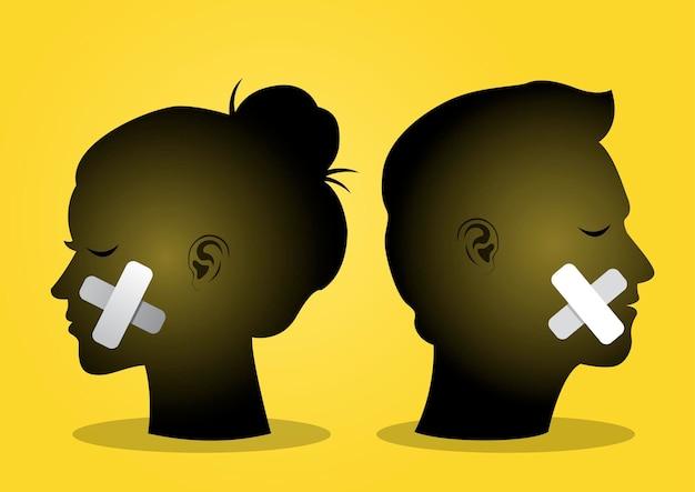 Ilustracja przedstawiająca parę głów z zamkniętymi ustami. ilustracja