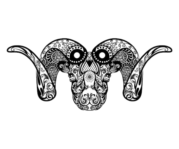 Ilustracja przedstawiająca piękną kozę z dwoma rogami pełnymi ornamentu kwiatowego