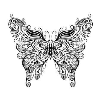 Ilustracja przedstawiająca pięknego motyla z zentangle z doddle dla inspiracji kolorystyką