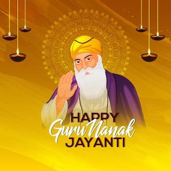 Ilustracja przedstawiająca pierwszego guru sikhijskiego nanaka dev ji