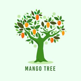 Ilustracja przedstawiająca płaską konstrukcję drzewa mango