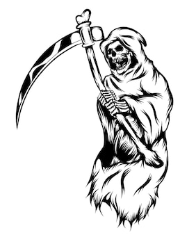 Ilustracja przedstawiająca ponurego żniwiarza trzymającego kosę z czaszki