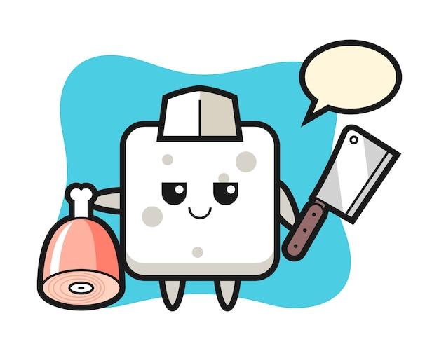 Ilustracja przedstawiająca postać kostki cukru jako rzeźnik, ładny styl na koszulkę, naklejkę, element logo