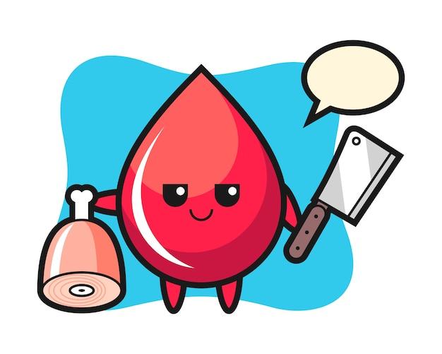 Ilustracja przedstawiająca postać kropli krwi jako rzeźnik, ładny styl, naklejka, element logo