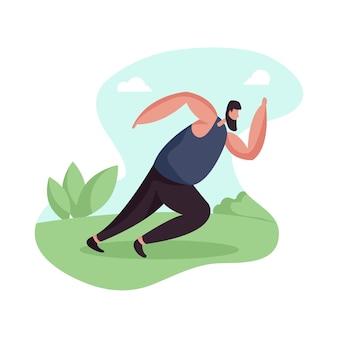 Ilustracja Przedstawiająca Postać Mężczyzny Wykonującego Bieganie Premium Wektorów