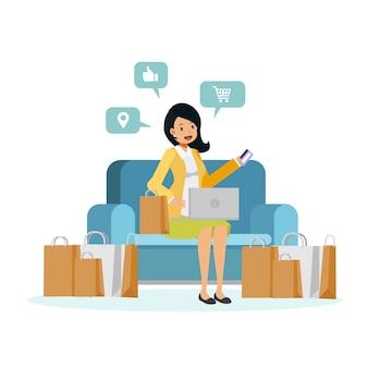 Ilustracja przedstawiająca postać z kreskówki płaskiej kobiety siedzącej na kanapie to cieszyć się zakupami online. kobieta trzyma kartę kredytową na kanapie obok torby na zakupy.