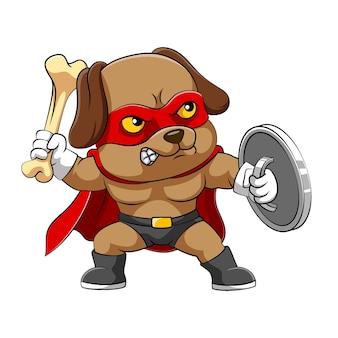 Ilustracja przedstawiająca psa z gniewnym wyrazem twarzy trzymającego kość i srebrną tarczę