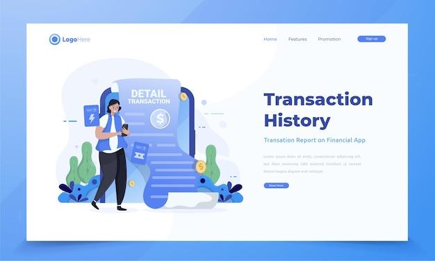 Ilustracja przedstawiająca raporty historii transakcji dotyczących koncepcji aplikacji finansowania