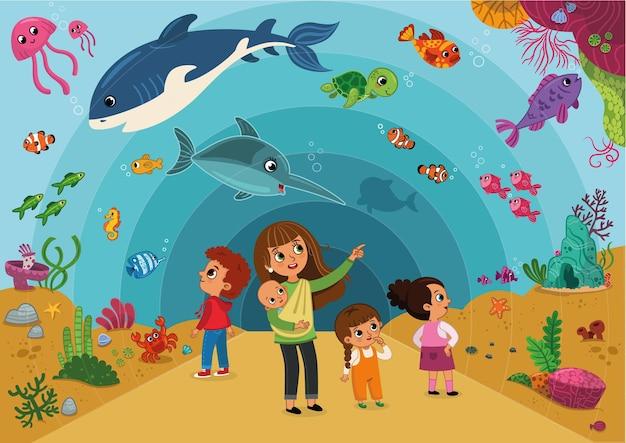 Ilustracja przedstawiająca rodzinę odwiedzającą akwarium