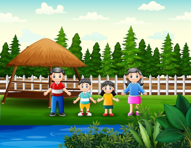 Ilustracja przedstawiająca rodzinę w parku