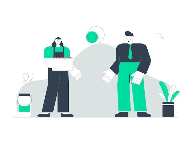Ilustracja przedstawiająca rolnika sprzedającego swoje owoce klientowi