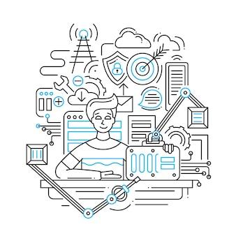 Ilustracja przedstawiająca skład strategii rozwiązania problemu nowoczesnej linii i elementy infografiki z mężczyzną sugerującym gotowe rozwiązanie