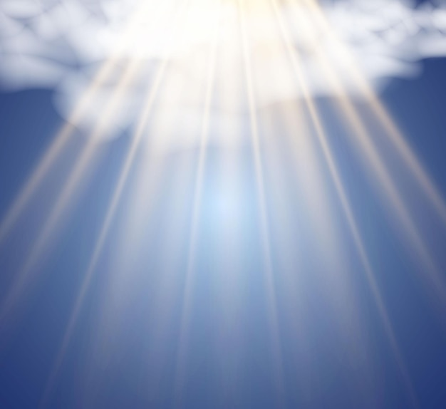Ilustracja przedstawiająca słońce przeświecające przez chmury