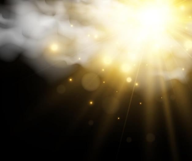 Ilustracja Przedstawiająca Słońce Przeświecające Przez Chmury Premium Wektorów