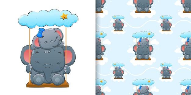 Ilustracja przedstawiająca słonia bawiącego się na huśtawce z chmurą nad nimi