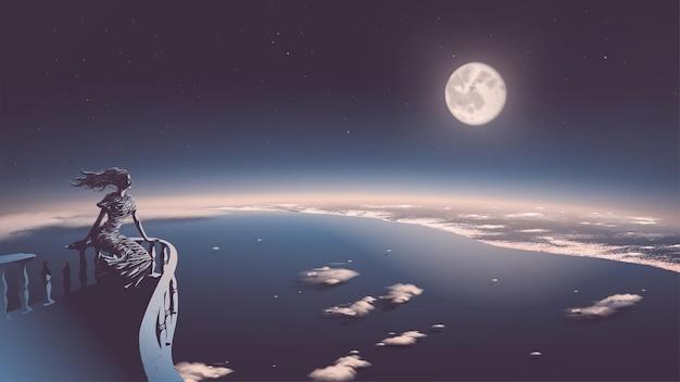 Ilustracja przedstawiająca starożytną boginię relaksującą się na balkonie i spoglądającą w dół na cywilizację z pięknym księżycem w pełni w tle