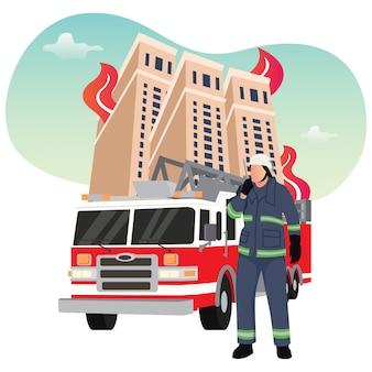 Ilustracja przedstawiająca strażaka walczącego z ogniem, strażak po schodach z wozami strażackimi do lądowania