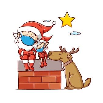 Ilustracja przedstawiająca świętego mikołaja i elfa z dużym psem używającym drogiego rogu śpią pod jasną gwiazdą na niebie
