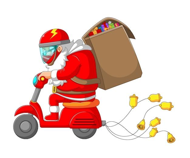 Ilustracja przedstawiająca świętego mikołaja jadącego na swoim skuterze i przynoszącego dużą torbę prezentów na boże narodzenie