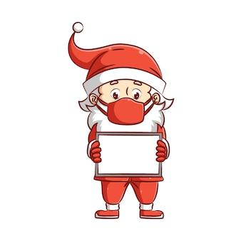 Ilustracja przedstawiająca świętego mikołaja przy użyciu stroju bożonarodzeniowego z maską i trzymającego kartkę papieru